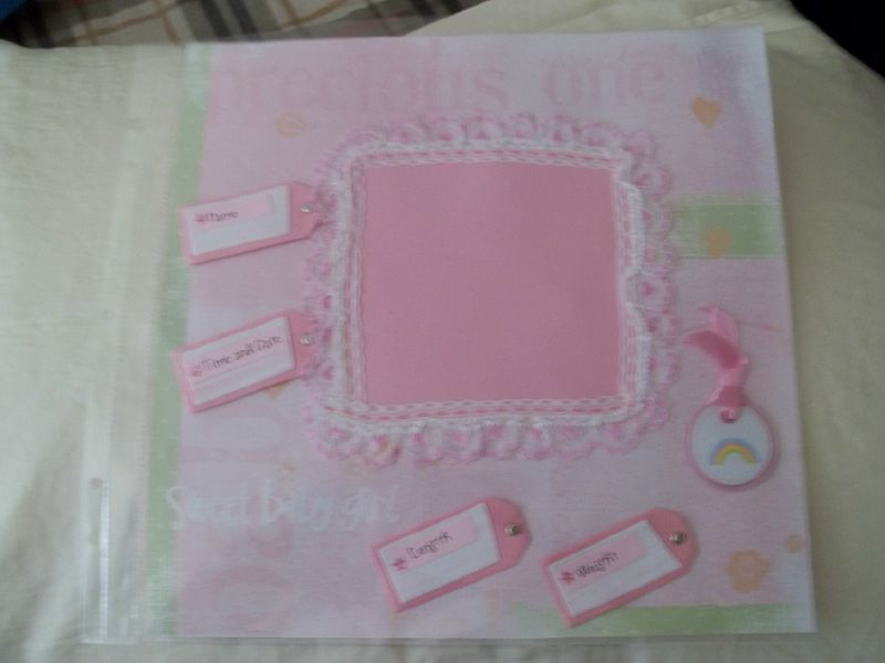 Newborn baby girl scrapbook page - product images