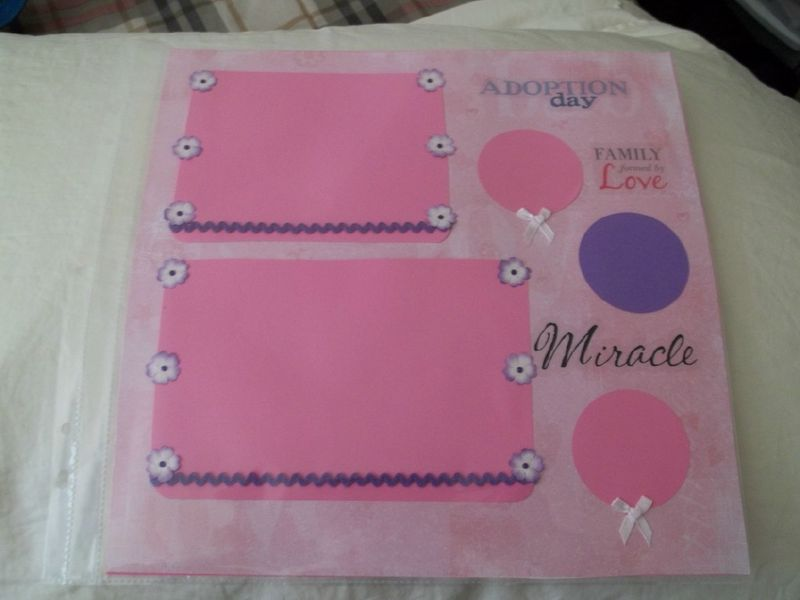 Baby girl Adoption day scrapbook page - product images  of