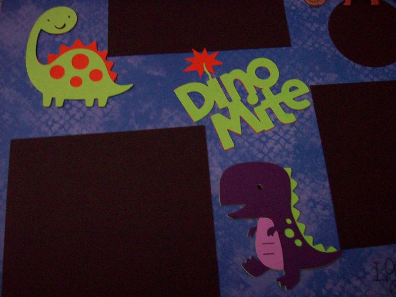 Dinomite scrapbook page - product images  of