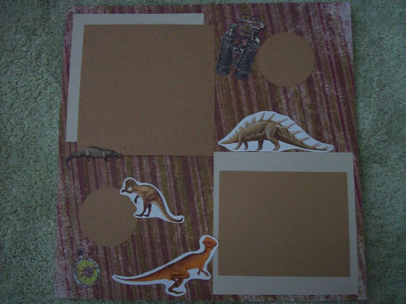 Dinosaurs roam scrapbook page - product images