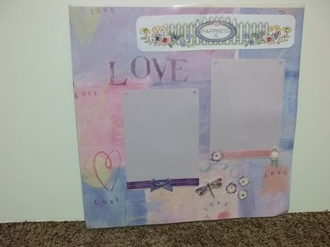 Happiness,is,Love,premade,scrapbook,page,happy, floral, love, premade scrapbook