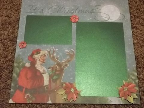 Merry,Christmas,tear,bear,premade,scrapbook,page, santa, scrapbook