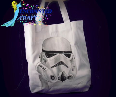 Star,Wars,STORM,TROOPER,tote,,bag,,or,shopping,bag-,get,your,name,on,it,for,free-,HANDPAINTED,not,screened,Geekery,Robot,science_fiction,cosplay,bag,tote,space,star_wars,jedi,storm_trooper,robot,starwars,onfire,white,ivory,canvas,paint,metallic_paint