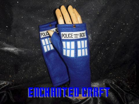 Blue,Fleece,Dr,Who,fingerless,gloves,TArdiS,Style,police,box,with,thumbs,Geekery,Accessory,blue,fleece,doctor_who,Dr_Who,science_fiction,tardis,hand_painted,scify,onfire,Gloves,police_box,texting,paint,celestial_crystal