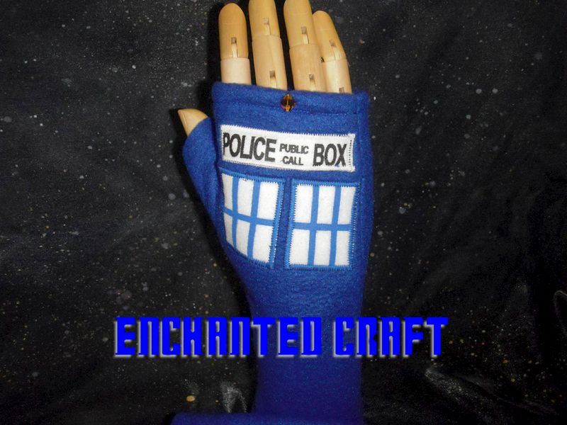 Blue Fleece Dr Who fingerless gloves TArdiS Style police box with thumbs - product images  of