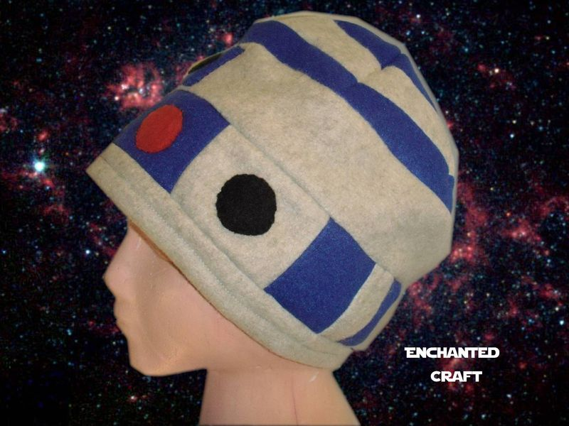 R2-D2 Fleece Beanie Hat- hand made and warm for Star Wars fans - product images  of