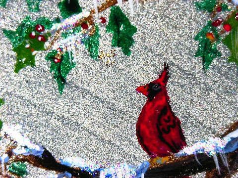 handpainted,CARDINAL,in,HOLLY,on,a,silver,wood,heart,ornament,with,celestial,crystal,beaded,hanger,holidays,christmas,decoration,cardinal,bird,beaded_hanger,beaded_hook,ooak,personalize,paint,glass_beads,celestial_crystal,ribbon