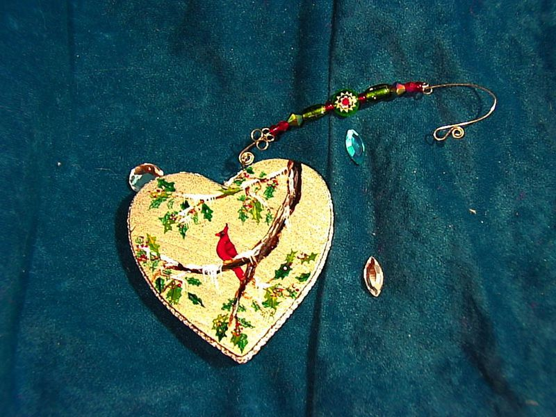 handpainted CARDINAL in HOLLY on a silver wood heart ornament with celestial crystal beaded hanger - product images  of