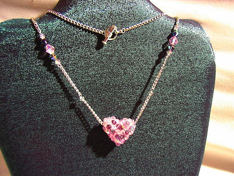 rose quartz PINK Full of Love beaded celestial crystal heart necklace - product images  of