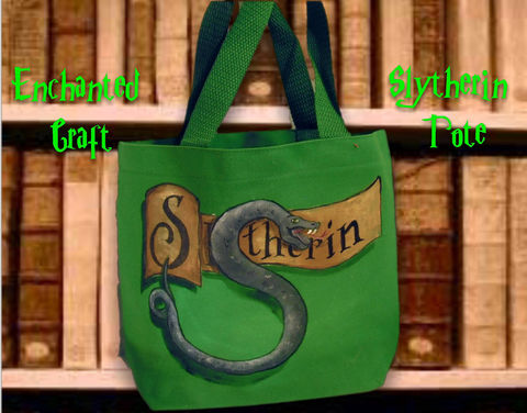 Harry,Potter,Slytherin,House,Tote,,or,bag,perfect,for,KINDLE,,NOOK,,E-reader,Geekery,Fantasy,Wizard,harry_potter,slytherin_house,slytherin,hogwarts,deathly_hallows,kindle,nook,ereader,snape,snake,onfire,tote,fabric,acrylic_paint