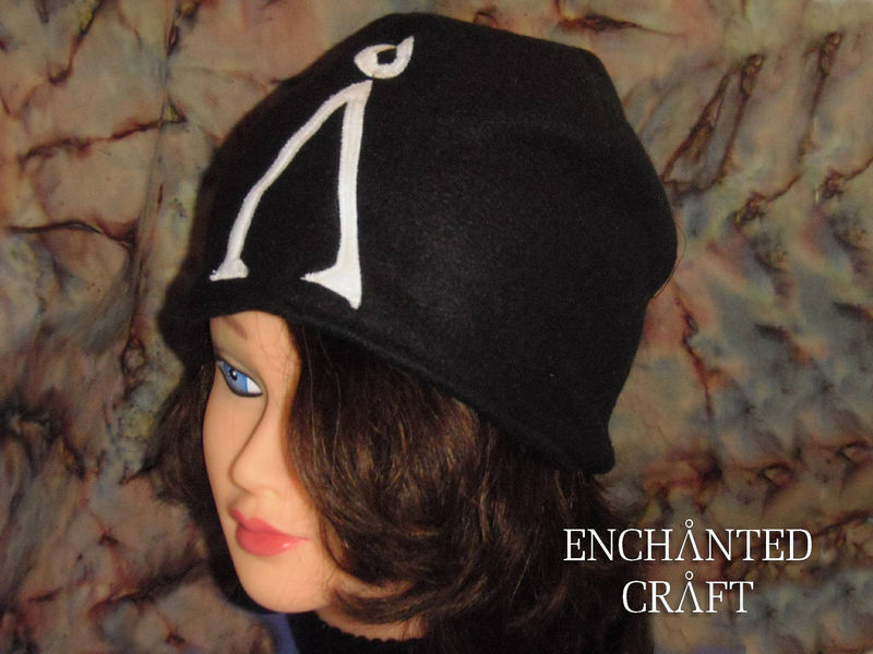 Fleece Stargate beanie hat Black with sewn white earth glyph - product images  of