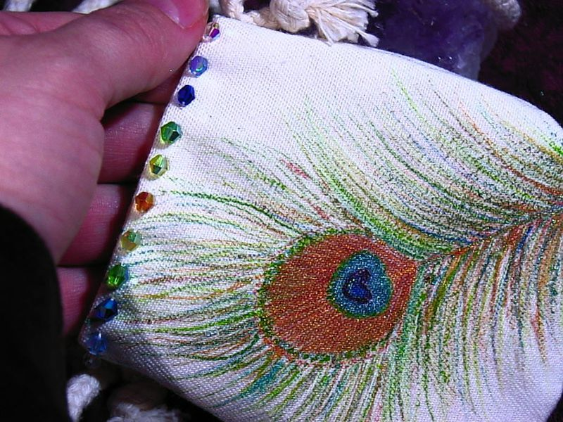 hand painted metallic PEACOCK feather Bag- with crystals mini bag, cozy carry your cell, mp3 - product images  of