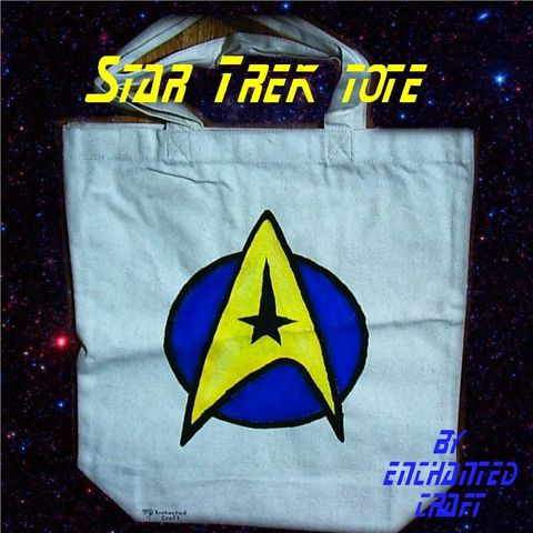 STAR,TREK,tote,with,Logo-,hand,painted,Geek,Fantasy,science_fiction,computer,cosplay,accessory,gadget,bag,universe,star_trek,enterprise,voyager,space,canvas,paint