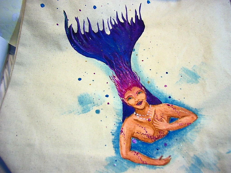 Beautiful DIVING MERMAID tote, 0r bag- get your name on it for free - product images  of