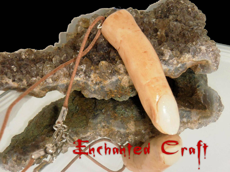 Creepy individually hand Sculpted severed finger necklace on a 24