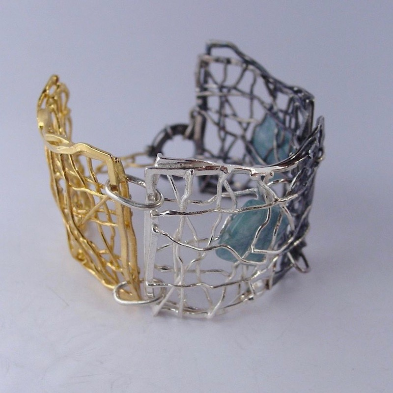 IM VII | GOLD PLATED SILVER BRACELET WITH AQUAMARINE