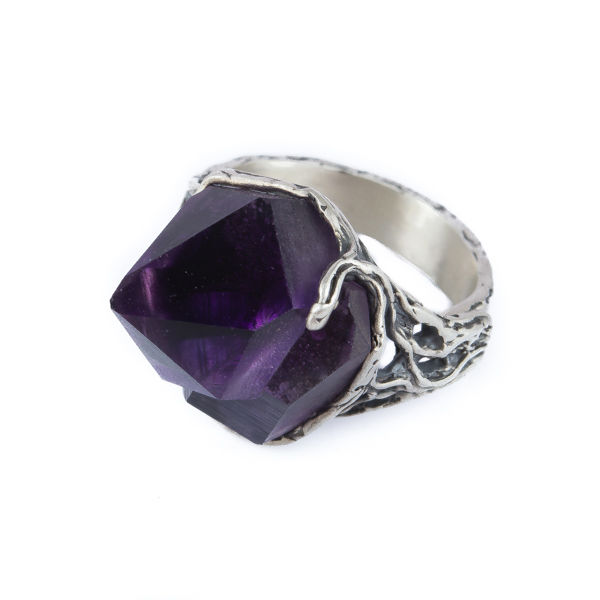 SILVER RING WITH RAW AMETHYST CRYSTAL