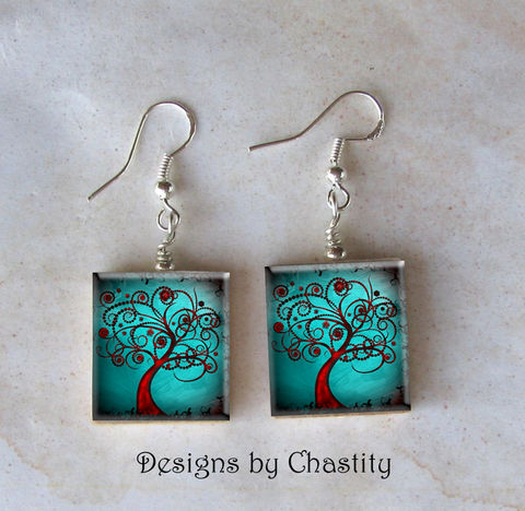 Abstract,Teal,Tree,Scrabble,Earrings,Jewelry, earrings, Art, altered art,  charm, scrabble tile, Designs by Chastity, abstract, tree, sterling silver