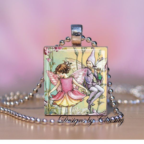 Vintage Magical Fairy Scrabble Necklace - product images