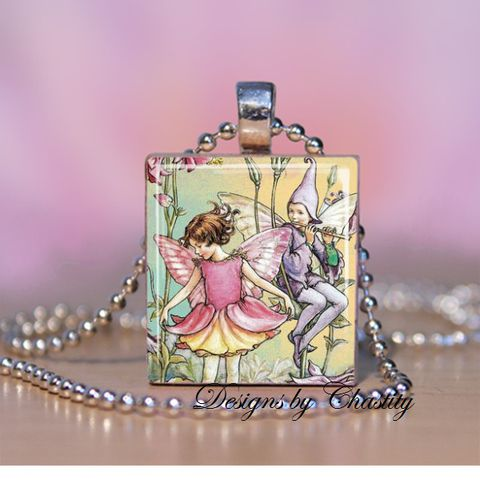Vintage,Magical,Fairy,Scrabble,Necklace,Jewelry, Pendant, Art, vintage, charm necklace, scrabble tile, silver ball chain, altered art, art illistation, winged, flower fairy, pink, deep thought, sweet dream, make a wish, magical, fantasy, Designs by Chastity