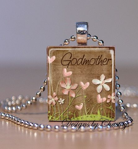 Godmother,Scrabble,Necklace,Jewelry, Pendant, Art, Godmother, Mother's day,  charm necklace, scrabble tile, silver ball chain, altered art, pink Floral, hearts, love,  Designs by Chastity
