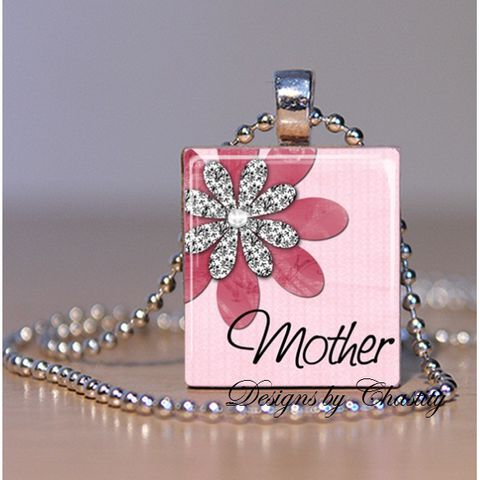 Mother,Pretty,in,Pink,Scrabble,Necklace,Jewelry, Pendant, Art, mother, Mother's day,  charm necklace, scrabble tile, silver ball chain, altered art, pink Floral, hearts, love,  Designs by Chastity
