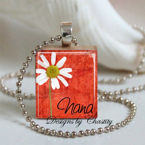 Nana,White,Daisy,Scrabble,Necklace,Jewelry, Pendant, Art, nana, Mother's day,  charm necklace, scrabble tile, silver ball chain, altered art, pink Floral, hearts, love,  Designs by Chastity