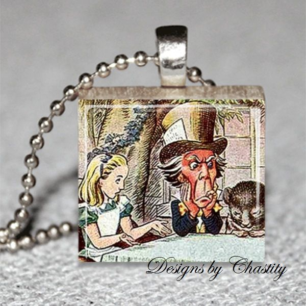 Alice in Wonderland Tea Party Scrabble Necklace - product images