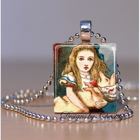 Alice,in,Wonderland,Little,Pig,Scrabble,Necklace,Jewelry, Pendant, Art, art illistration,  alice in wonderland, little pink, pork, tea party, mad hatter, charm necklace, scrabble tile, silver ball chain, altered art, pink Floral, hearts, love,  Designs by Chastity