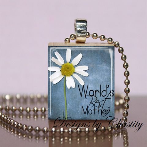 World's,Best,Mother,in,Blue,Scrabble,Necklace,Jewelry, Pendant, Art, mother, Mother's day,  charm necklace, scrabble tile, silver ball chain, altered art, pink Floral, hearts, love,  Designs by Chastity