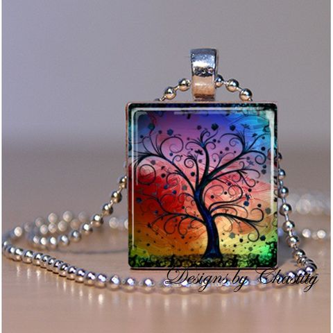 Rainbow,Abstract,Tree,Scrabble,Necklace,Jewelry, Pendant, Art, altered art, abstract tree, colorful, rainbow, Mother's day,  charm necklace, scrabble tile, silver ball chain, Designs by Chatity