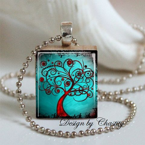 Abstract,Tree,Teal,Scrabble,Necklace,Jewelry, Pendant, Art, altered art, abstract tree, colorful, rainbow, Mother's day, party favor, charm necklace, scrabble tile, silver ball chain, Designs by Chastity