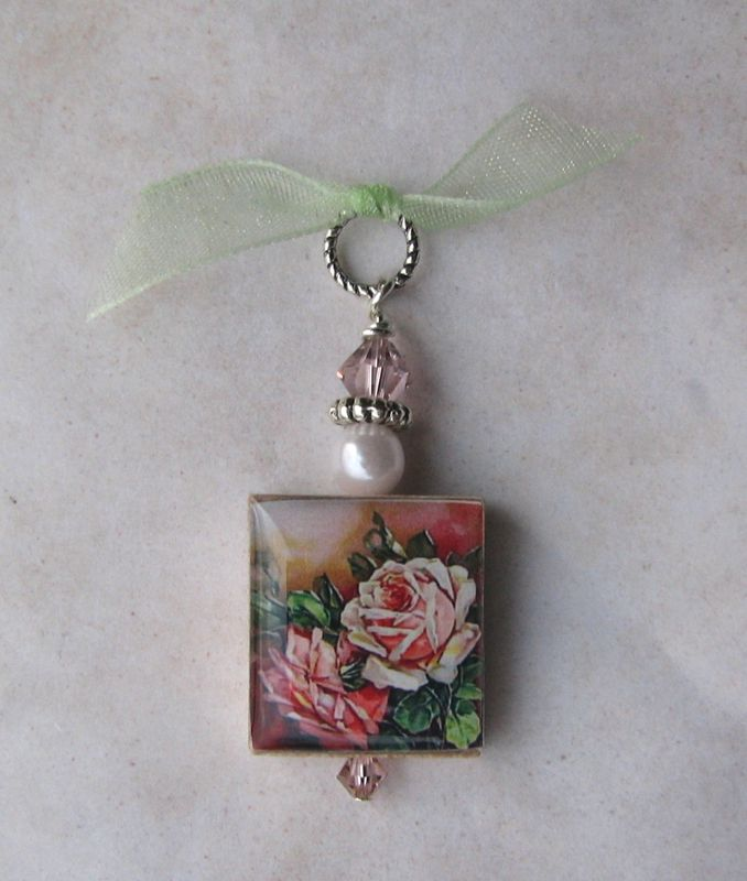 Pink Roses Scrabble Pendant - product images