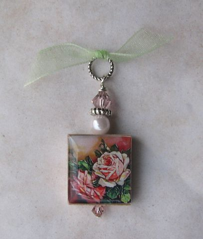 Pink,Roses,Scrabble,Pendant,Jewelry, Pendant, Art, altered art, vintage, pink, rose, roses, charm, pendant, necklace, scrabble tile, Designs by Chastity