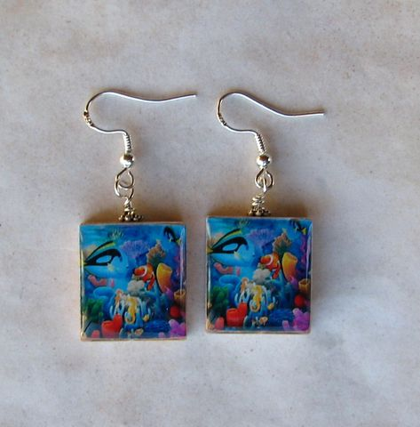 Under,the,Sea,Scrabble,Earrings,Jewelry, earrings, sterling silver, Art, altered art, fish, tropical, underwater, coral,  scrabble tile, Designs by Chastity, perfect gift