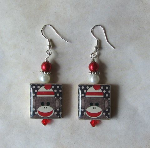 Sock,Monkey,in,Red,Scrabble,Earrings,Jewelry, earrings, sterling silver, Art, altered art, art image, swarovski crystals, pearls, scrabble tile, Sockmonkey, sock monkey, red, Designs by Chastity, perfect gift