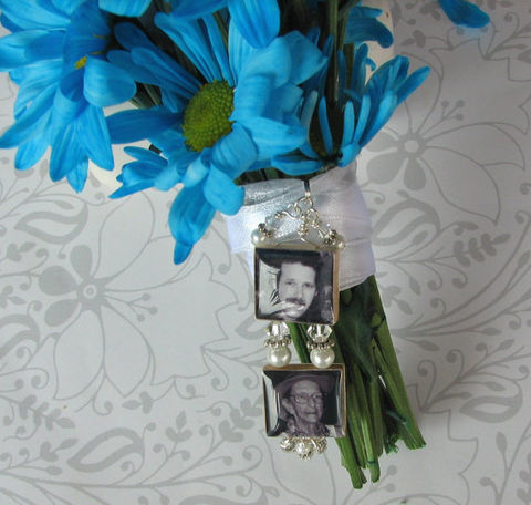 2,Tiered,Bouquet,Photo,Charm,Jewelry, 2 tiered, two tiered, Pendant, wedding, keepsake, memorial, Art, altered art, charm, bouquet, bouquet photo charm,  scrabble tile, Designs by Chastity, gift