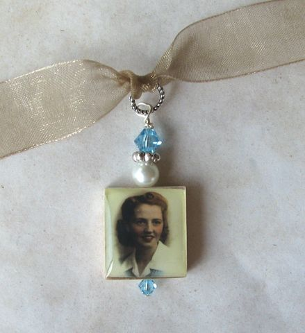 Double,Sided,Bouquet,photo,charm,Jewelry, Pendant, wedding, keepsake, memorial, Art, altered art, charm, bouquet, bouquet photo charm,  scrabble tile, Designs by Chastity, gift