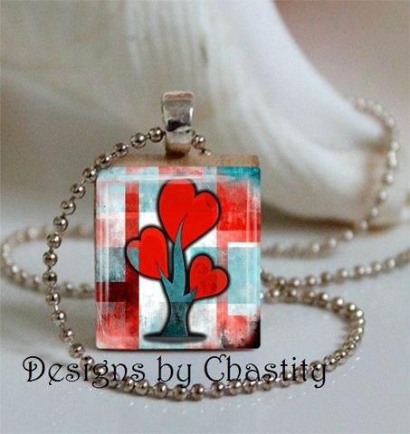 Red,Tree,of,Hearts,Scrabble,Necklace,Jewelry, Pendant, Art, altered art, abstract tree, colorful, red, stain glass, Mother's day,  charm necklace, scrabble tile, silver ball chain, Designs by Chatity, valentine