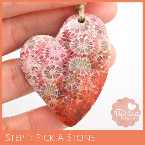 LOPSIDED,HEART,-,CF05,heart stone pendant, coral, fossil, heart shaped, flat back, flower, popnicute hearts, kharisma sommers, pink, salmon, orange, red