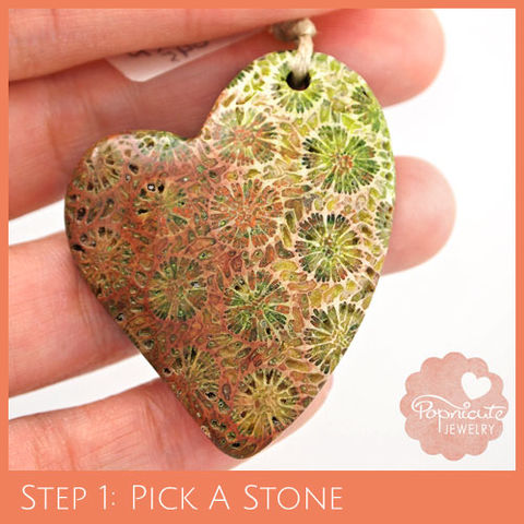 LOPSIDED,HEART,-,CF02,heart stone pendant, coral, fossil, heart shaped, flat back, flower, popnicute hearts, kharisma sommers, green, brown, earthy