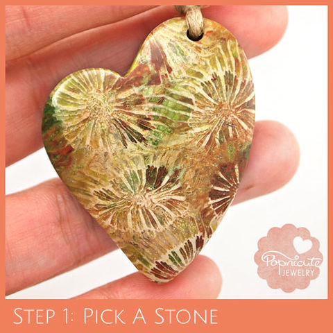 LOPSIDED,HEART,-,CF01,heart stone pendant, coral, fossil, heart shaped, flat back, flower, popnicute hearts, kharisma sommers, green, brown, earthy, asymmetrical