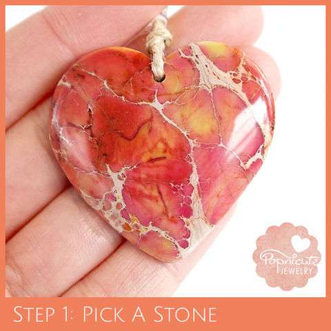SYMMETRICAL,HEART,-,SJ08,heart stone pendant, sea sediment jasper, variscite, snake skin jasper, heart shaped, popnicute hearts, kharisma sommers, orange, pink, yellow, tan
