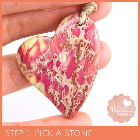 LOPSIDED,HEART,-,SJ20,heart stone pendant, sea sediment jasper, variscite, snake skin jasper, heart shaped, popnicute hearts, kharisma sommers, pink, red, coral, tan, yellow