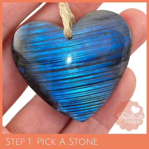 SYMMETRICAL,HEART,-,LD24,heart stone pendant, labradorite, heart shaped, domed, reversible, popnicute hearts, kharisma sommers, blue, glow, chatoyance, stripes