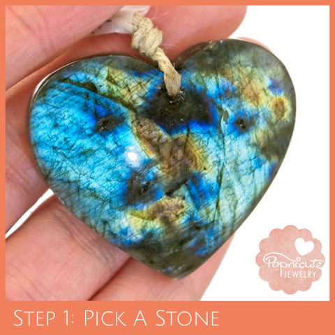 SYMMETRICAL,HEART,-,LE15,heart stone pendant, labradorite, heart shaped, domed, reversible, popnicute hearts, kharisma sommers, blue, glow, chatoyance, orange