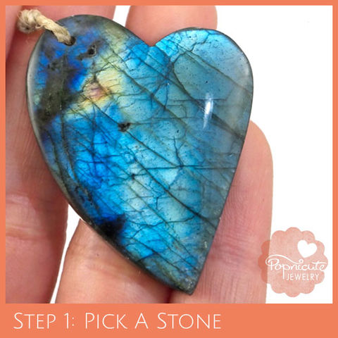 LOPSIDED,HEART,-,LE22,heart stone pendant, labradorite, heart shaped, domed, reversible, popnicute hearts, kharisma sommers, blue, glow, chatoyance, orange, dark blue