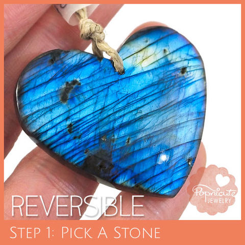 SYMMETRICAL,HEART,-,LE19,heart stone pendant, labradorite, heart shaped, domed, reversible, popnicute hearts, kharisma sommers, lopsided, blue, glow, chatoyance