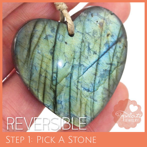 SYMMETRICAL,HEART,-,LE17,heart stone pendant, labradorite, heart shaped, domed, reversible, popnicute hearts, kharisma sommers, lopsided, blue, glow, chatoyance, green, orange