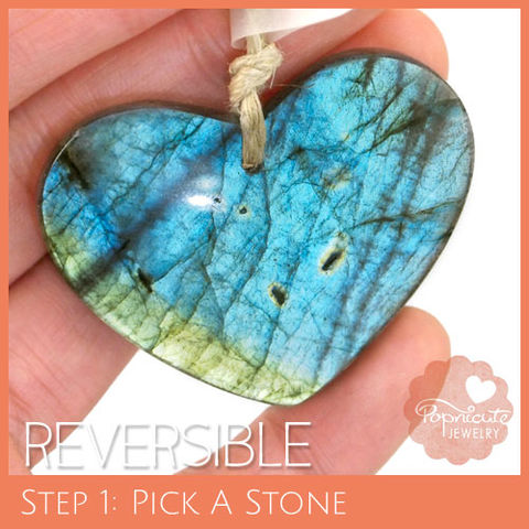 SYMMETRICAL,HEART,-,LE14,heart stone pendant, labradorite, heart shaped, domed, reversible, popnicute hearts, kharisma sommers, lopsided, blue, glow, chatoyance, green, lines